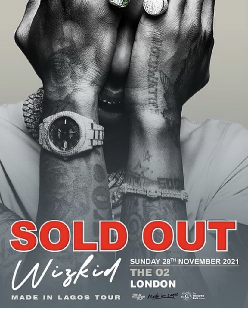 Nigerian Grammy Award winner, Wizkid Sells the O2 Arena in 12 minutes